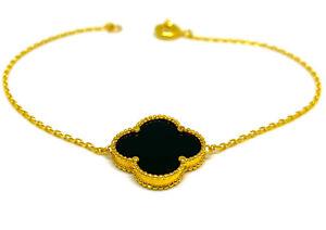 21 Carat Solid Gold Floral Motif Bracelet Onyx Hallmarked
