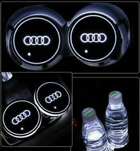 2PCS for Audi LED Car Cup Holder Pad Mat Automobiles Interior Atmosphere Lights