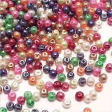 Lot de 1000 perles nacrées en verre 3mm Mélange de de couleurs