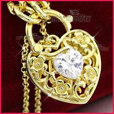 9K GOLD GF CZ CRYSTAL FILIGREE BELCHER CHAIN HEART PADLOCK BANGLE BRACELET GIFT