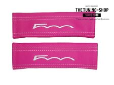"2x Seat Belt Covers Pads Pink Leather ""500 "" White Embroidery for Fiat"