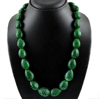 675.00 CTS EARTH MINED PEAR CARVED RICH GREEN EMERALD BEADS NECKLACE STRAND