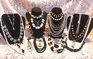 22 Piece Modern and Vintage B&W Mixed Necklace Lot - Sarah Coventry