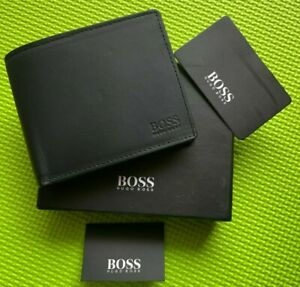 Hugo Boss Mens wallet Arezzo 50128297 Black Trifold Leather Coin Wallet GIFT BOX