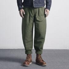 Vintage Work British Army Pants High-waisted Multi-pocket Deck Trousers OG107