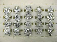 Wholesale Jewelry Lots 10pcs Mixed Skull Silver Men's Rings FREE J19