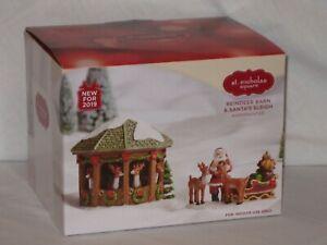 "NEW St. Nicholas Square Village ""Reindeer Barn & Santa's Sleigh"" (Set of 2)"