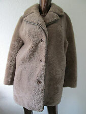 vintage curly fur sheepskin shearling taupe mink beige teddy bear coat jacket m