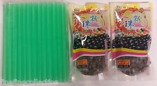 2 Packs Black Tapioca Pearl Bubble & 1 pack of 50 pc BOBA Straw