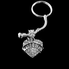 Fire girl key chain  Fire girl jewelry  Fire girl gift  Crystal Heart Charm gift