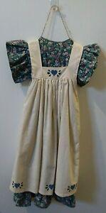 Primitive Wall Decor Girl Dress Floral with Blue Hearts Apron & Vintage Hanger