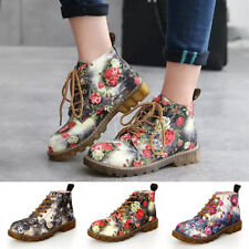 UK Womens Floral Block Heel Ankle Martin Boots Ladies Flats Sneakers Shoes Boots
