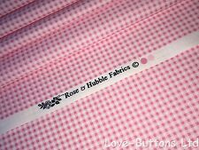 PRETTY ROSE AND HUBBLE PINK GINGHAM PRINT FABRIC 100% COTTON HALF METRES