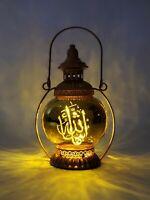 Islamic lantern, metal & glass, 3 x AAA batteries Led light operated, M Shaa All