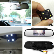 "Waterproof Reverse Car Backup Camera + 4.3"" Rear View Mirror Monitor Parking Kit"