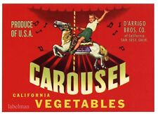 CAROUSEL Vintage San Jose Vegetables Crate Label, Horse AN ORIGINAL LABEL, small