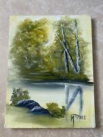 "Vintage Original Oil Painting on Canvas Landscape Forest Signed McPhee 12x9"""