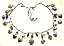 """Antique Sterling Silver Enamel Repousse Heart Charms & Glass Grapes Necklace 27"""""""