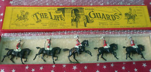 W. BRITAINS 1950s Lead, The Life Guards Mounted, 5 Piece Boxed Set #1