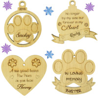Pet Dog Cat Bereavement Wooden Oak Bauble Christmas Tree Decoration Xmas Gift
