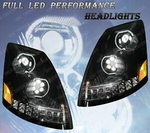 QSC Full LED Performance Black Headlights Sequential Turn Signal Volvo VNL 04-17