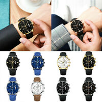 Trendy Sport Men's Stainless Steel Case Leather Band Quartz Analog Wrist Watch