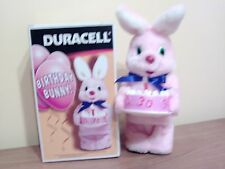 VINTAGE 30TH BIRTHDAY PINK BUNNY BY DURACELL WITH CANDLES ON CAKE
