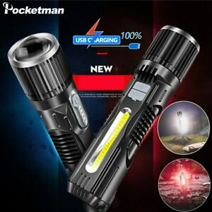 100000lm T6 LED Flashlight Zoom Torch USB Rechargeable Lantern Built-in Battery