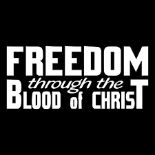 Freedom Through The Blood Of Christ Religious Car Truck Vinyl Decal Sticker.