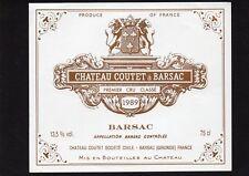 SAUTERNES 1ER GCC VIEILLE ETIQUETTE CHATEAU COUTET 1989 75 CL RARE    §14/03/18§