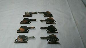 Antique matching lot of 8 copper japan flash Window Sash Lock Holders Banjo