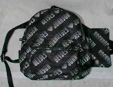 New Betsey Johnson Logo Nylon Backpack Handbag Sporty Purse Lined Black White