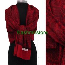 New Pashmina Paisley Floral Silk Wool Scarf Wrap Shawl Soft Red/black #R06