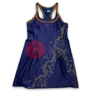 Nike Women's Dri-Fit Tennis Dress Racerback Brown Blue Rare Size Extra Large XL