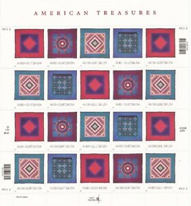 US Stamp 2001 34c Amish Quilts - 20 Stamp Sheet - Scott #3524-7