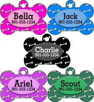 Custom Bones Pet Id Dog Tags Personalized w/ Your Pet's Name & Number