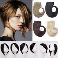 Long New Clip In Front Hair Bang Side Fringe Hair Extension Real Natural Bangs
