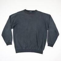 Vtg 90s Faded Black Distressed Blank Ribbed Crew Sweatshirt Grunge Punk Skate M?