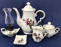 Vintage Porcelain Moss Rose Coffee Tea Pot Cream Sugar Lantern Set of 5 (RG-L2)