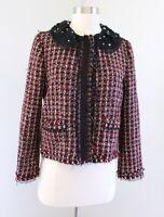Zara Woman Red Black Tweed Fringe Ruffle Lace Collar Blazer Jacket Size M Beaded
