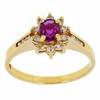 14k Yellow Gold 0.12cw Ruby & Diamond Cluster Ring Size 6