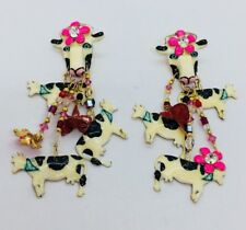 Lunch At The Ritz Gold Plated Enamel Cows Dangle Earrings