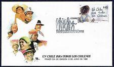 CHILE FDC COVER 1990 # 1430 UN CHILE PARA TODOS LOS CHILENOS