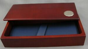 Wood Pen Gift Box - Mahogany Wood w/Blue Interior Pen Box - 1 BOX - New