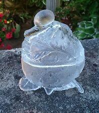 """Antique French portieux verre """"Fraise et escargot"""" Sugar Bowl/jam pot"""