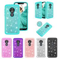 For T-Mobile Revvlry Plus Case Hybrid Armor Glitter Bling Shockproof Phone Cover
