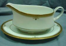 Noritake Buckingham Gold 4346 White Gold Trim Gravy Boat with Underplate 18H020