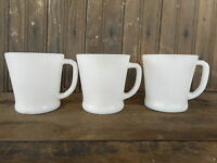 3 Fire King White Anchor Hocking Restaurant Ware Coffee Cups one has a sticker