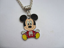 Lovely  Mickey Mouse Silver Curb Chain Necklace