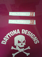 DELTABOX II WHITE & RED CUSTOM PAIR GRAPHICS DECALS STICKERS